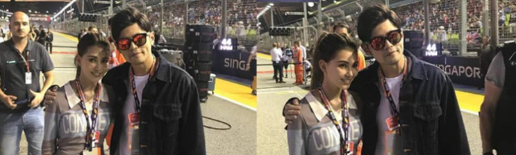 又秀恩爱!周杰伦陪妻看F1大赛 甜搂昆凌肩合照发狗粮